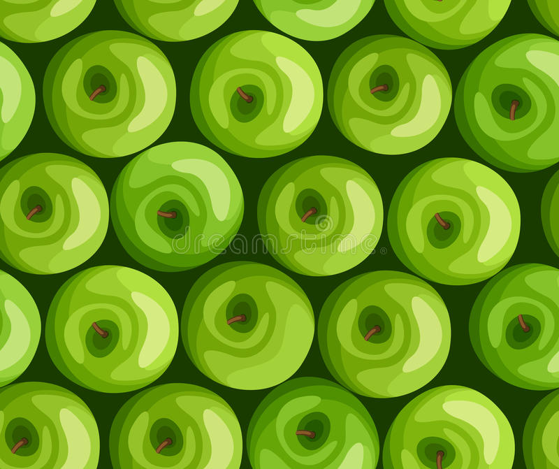 Seamless background with green apples. royalty free illustration
