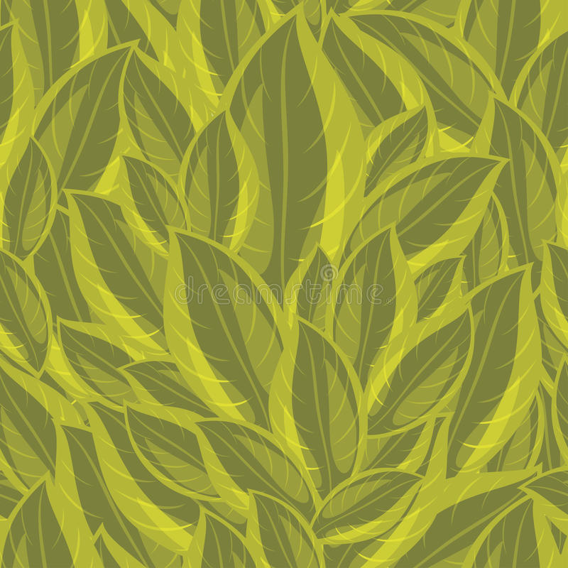 Seamless background with a green leaves royalty free illustration