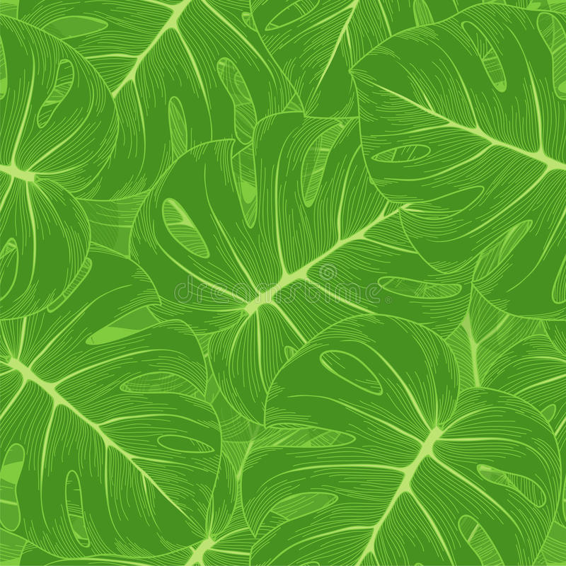 Seamless background. Green leaves with a monster o stock illustration
