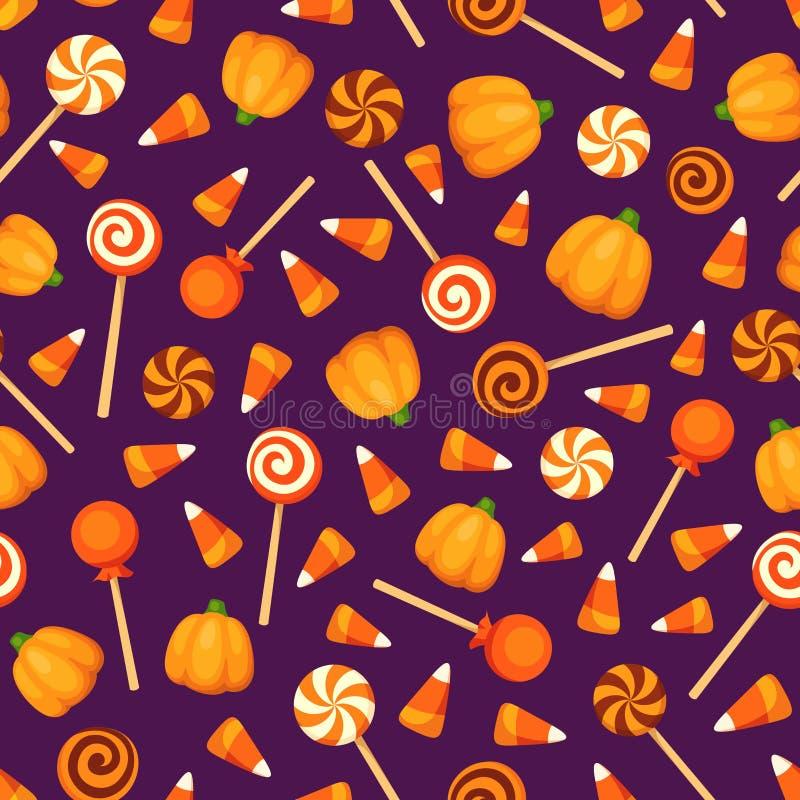 Seamless background with Halloween candies on purple. Vector illustration. vector illustration