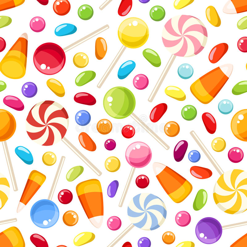 Seamless background with Halloween candies. Vector illustration. Vector seamless background with colorful Halloween candies on a white background royalty free illustration
