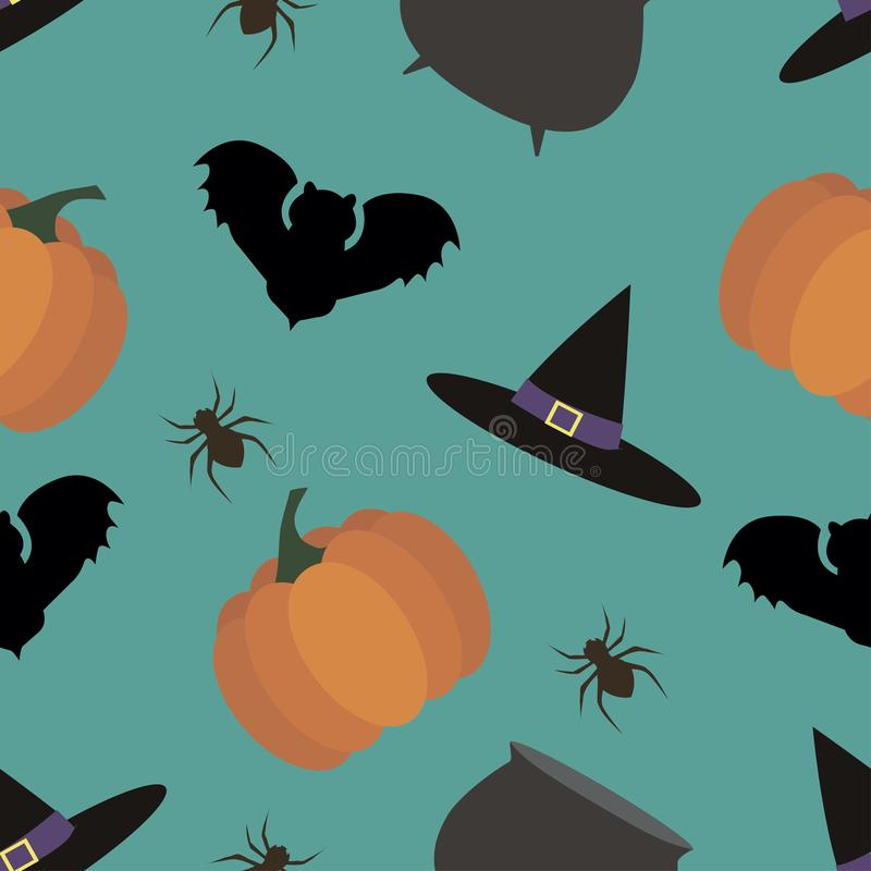 Seamless background of halloween from different subjects.  vector illustration