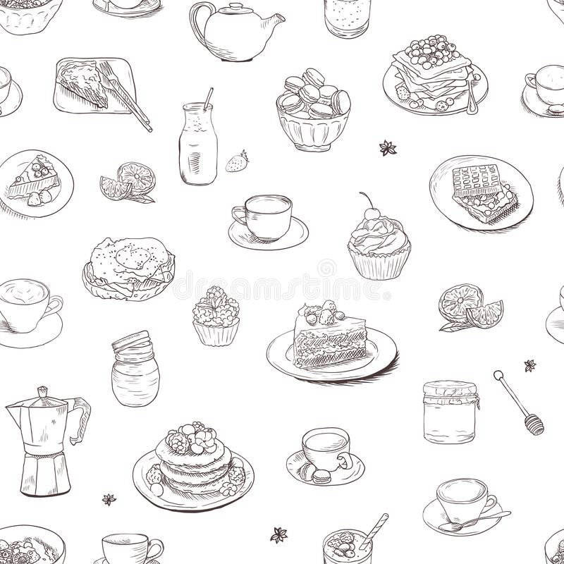 Seamless background Hand drawn coffee, tea, sweets pattern. Illustration delicious elements. Breakfast Food Drinks Cake royalty free illustration