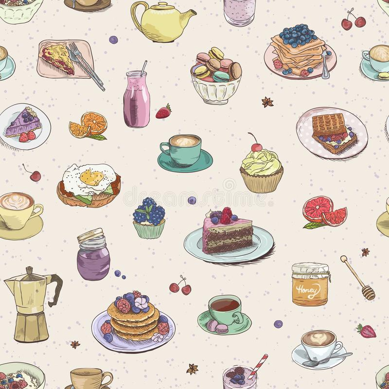 Seamless background Hand drawn coffee, tea, sweets pattern. Illustration delicious elements. Breakfast Food Drinks Cake. Seamless background Hand drawn coffee stock illustration