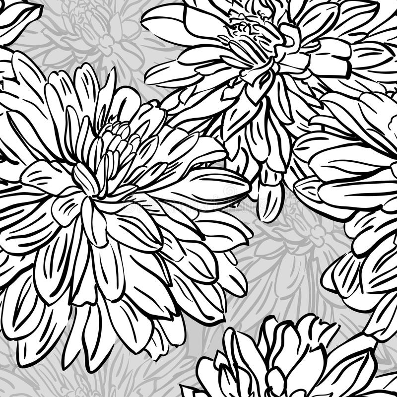 Seamless background with hand drawn peonies flowers. Vector stock images