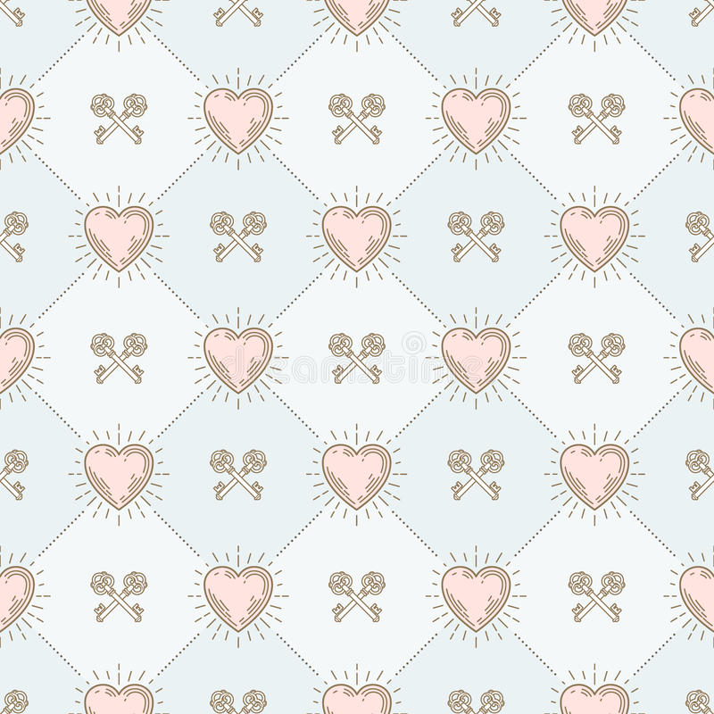 Seamless background with hearts and keys vector illustration