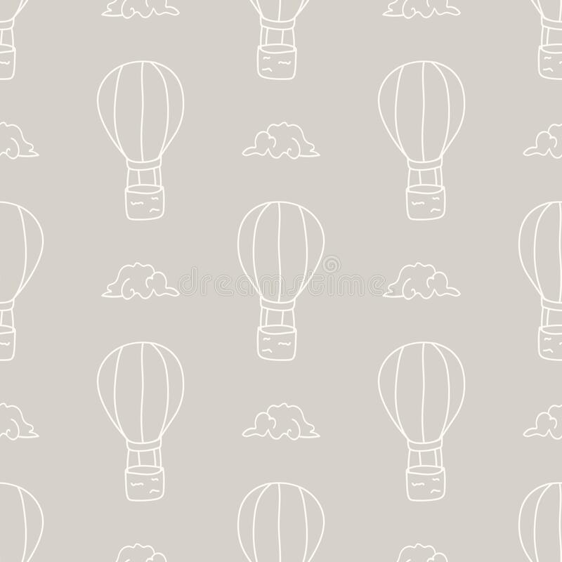 Free Seamless Background Hot Air Balloon And Cloud Gender Neutral Baby Pattern. Simple Whimsical Minimal Earthy 2 Tone Color Stock Image - 188149851