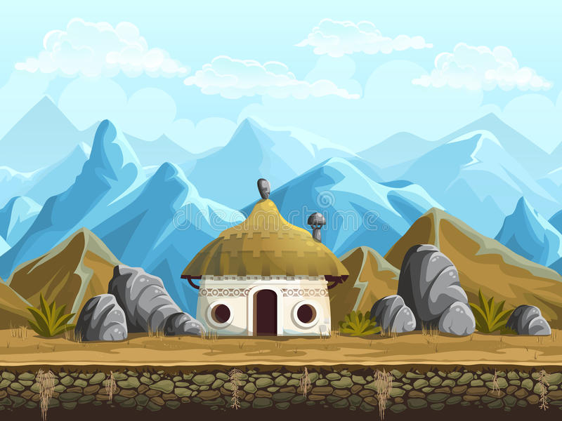 Seamless background of the hut in the mountains stock illustration