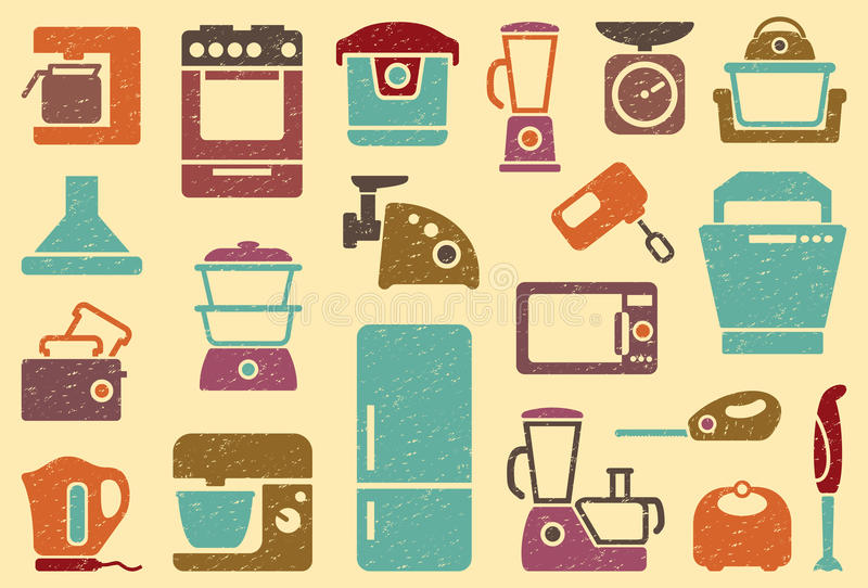 Seamless background from icons of kitchen home app stock - Electrodomesticos retro ...