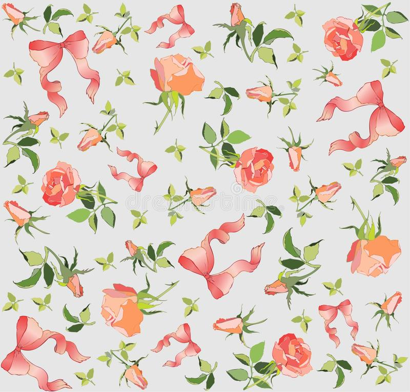 Seamless background. Illustration rose and bow. vector illustration