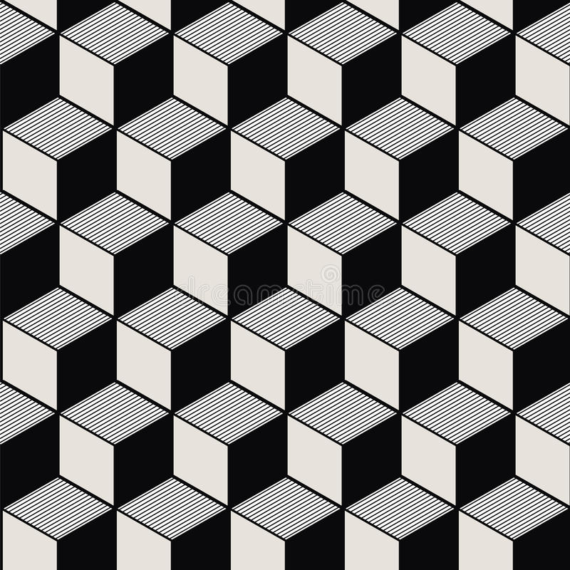 Seamless background image of vintage black white cubic line geometry pattern. stock illustration
