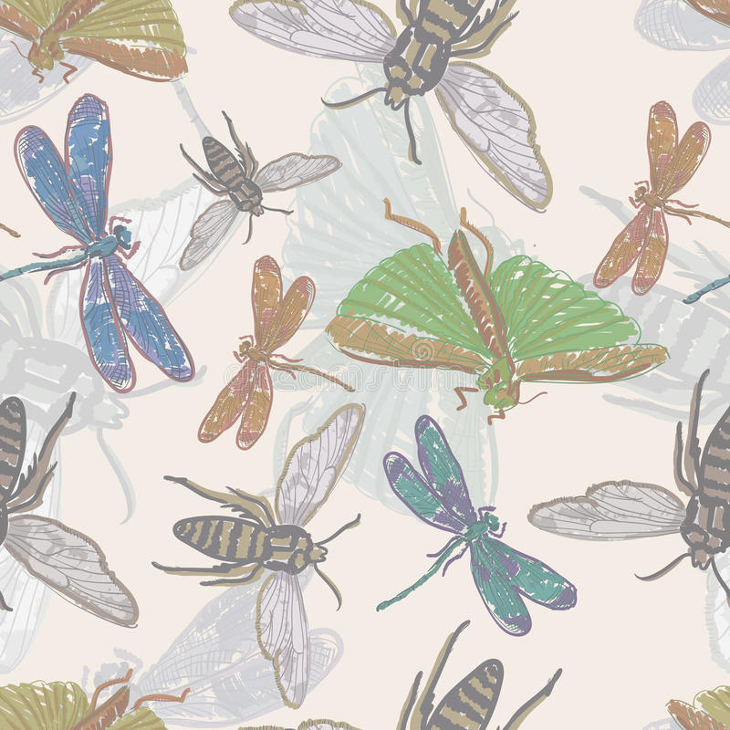 Seamless background with insects royalty free stock photo