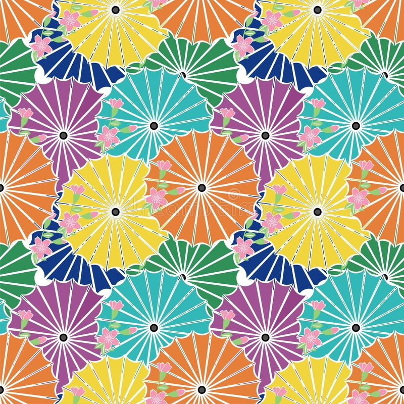 Seamless background with japanese umbrellas stock illustration