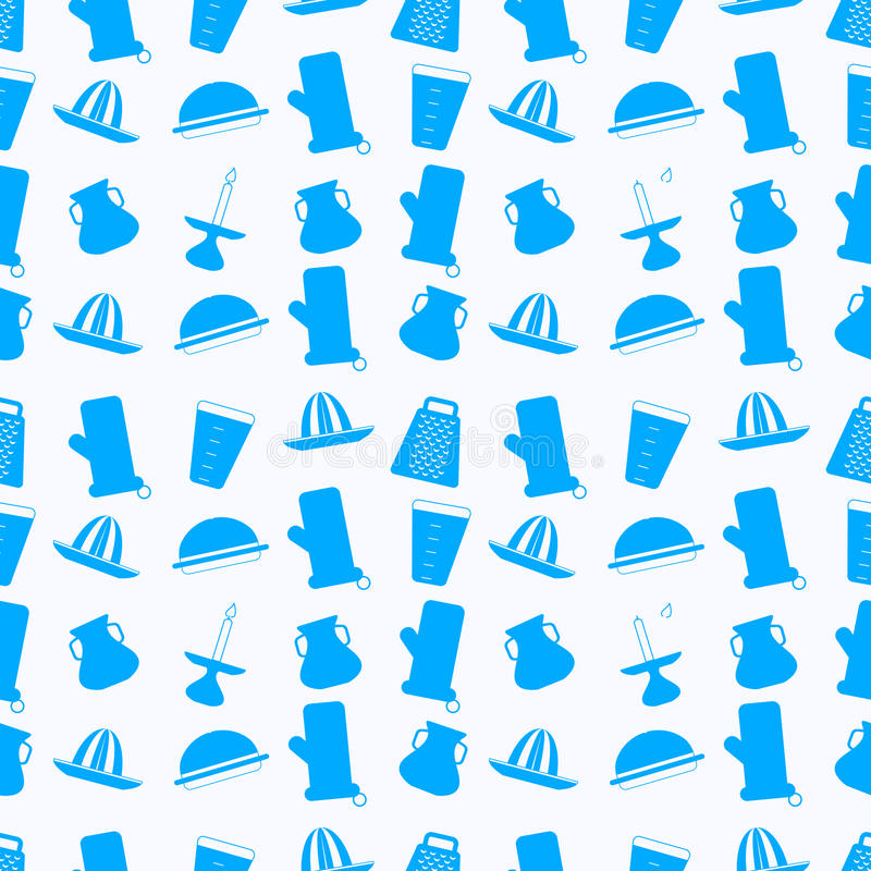 Seamless background for kitchenware. Pattern with blue silhouette icons for kitchenware on white background vector illustration