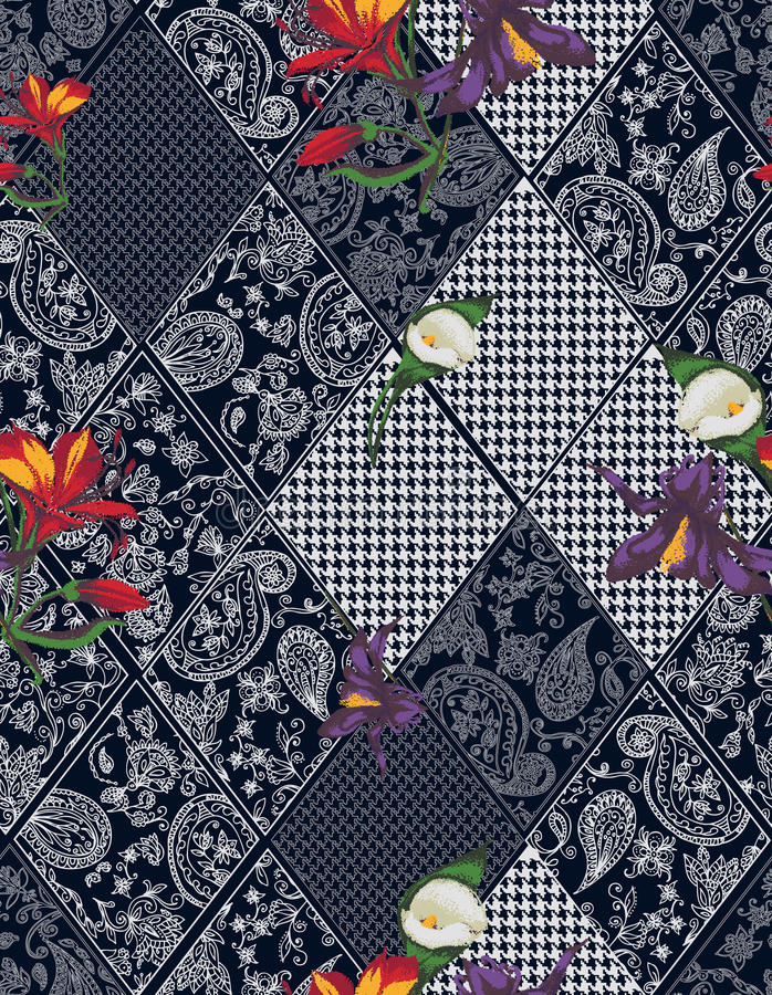 Seamless background lace, paisley and pied-de. Poule, houndstooth design vector illustration