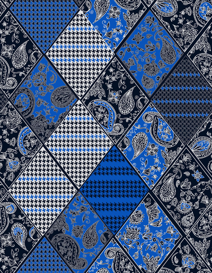 Seamless background lace, paisley and pied-de. Poule, houndstooth design stock illustration