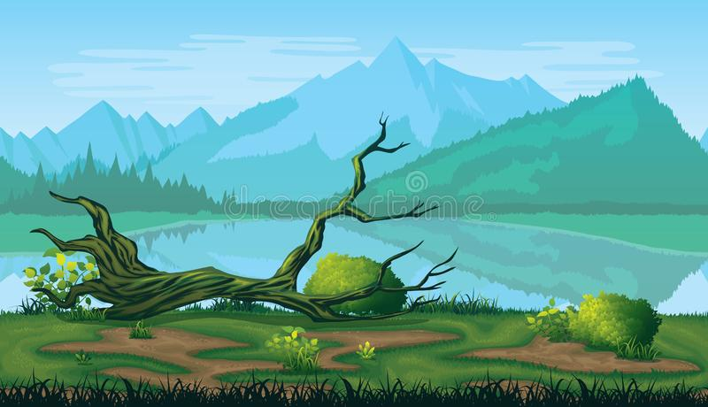 Seamless background of landscape with river, forest and mountains. stock illustration