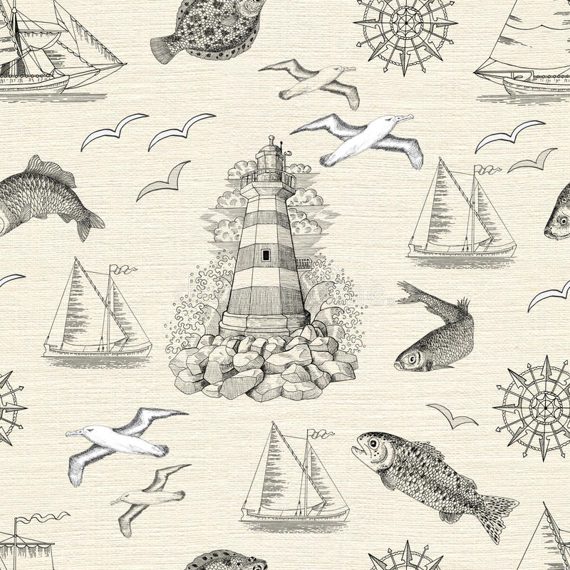 Seamless background with lighthouse, fish, gulls and boats vector illustration