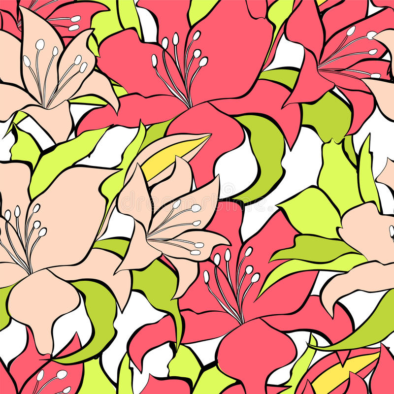 Download Seamless Background With Lily Flowers Stock Photos - Image: 26003513