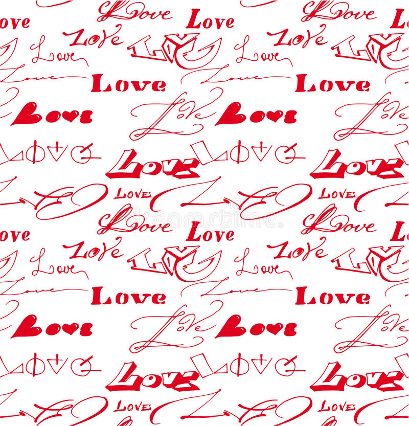 Seamless background with love inscription. royalty free stock photos