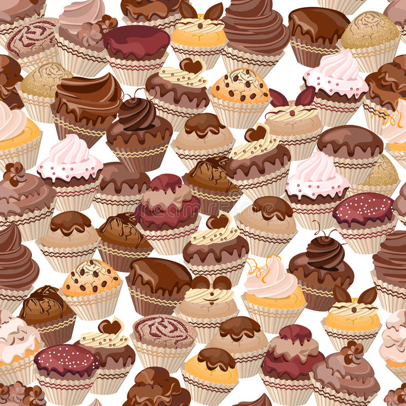 Seamless background made of cakes royalty free illustration