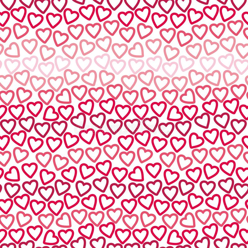 Seamless background of many contours of red and pink hearts creating a openwork pattern. royalty free stock photography