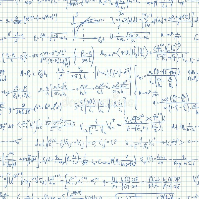 Seamless background of many formulas. royalty free illustration