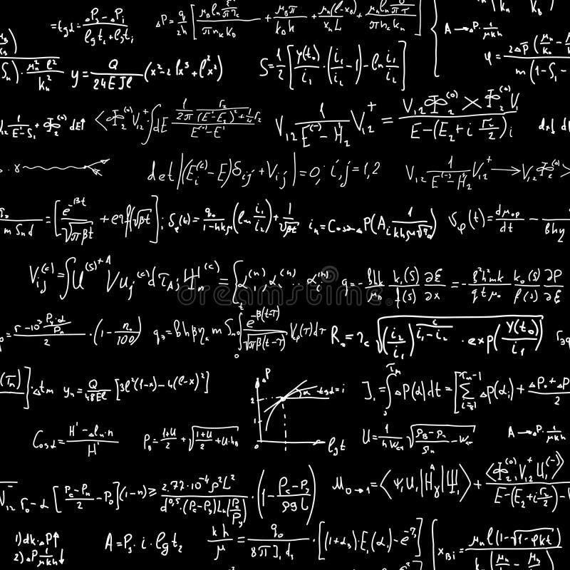 Seamless background of many formulas. vector illustration