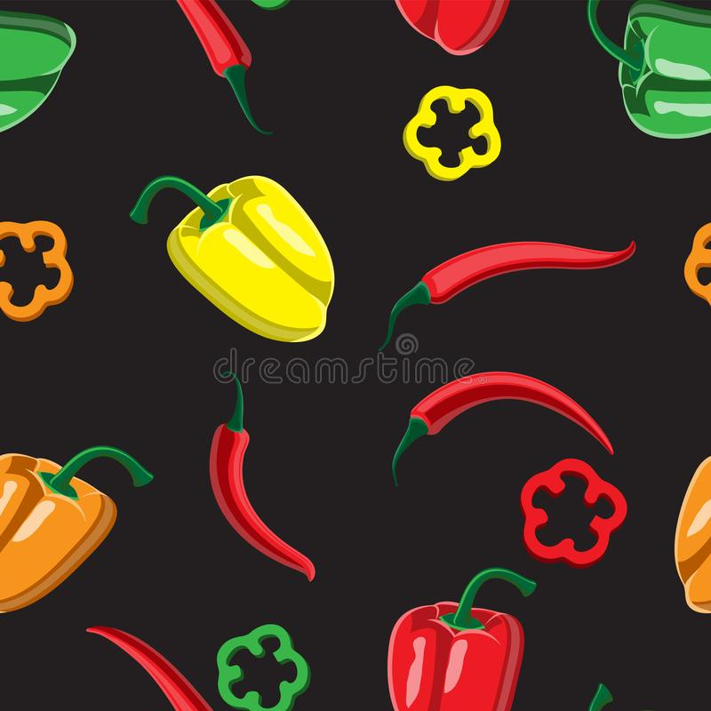 Seamless background mixed Bulgarian pepper and chili sliced multi-colored on a black background. Design of printing paper fabric vector illustration