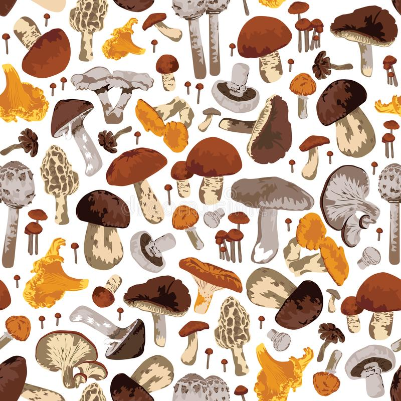Seamless background with mushrooms royalty free illustration