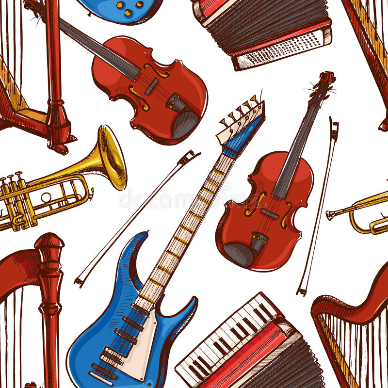 Seamless background with Musical instruments. Accordion, violin, bass guitar. hand-drawn illustration. accordion, violin, bass guitar vector illustration