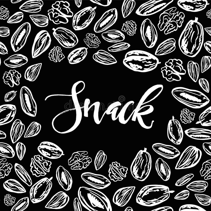 Seamless background with nuts and dried fruits. Vector illustrat. Seamless pattern with nuts and dried fruits on black background. Vector illustration royalty free illustration