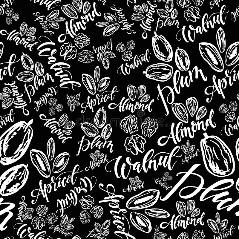 Seamless background with nuts and dried fruits. Vector illustrat. Seamless pattern with nuts and dried fruits on black background. Vector illustration vector illustration