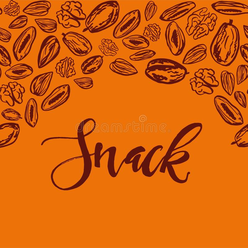 Seamless background with nuts and dried fruits. Vector illustration. Seamless pattern with nuts and dried fruits on orange background. Vector illustration stock illustration