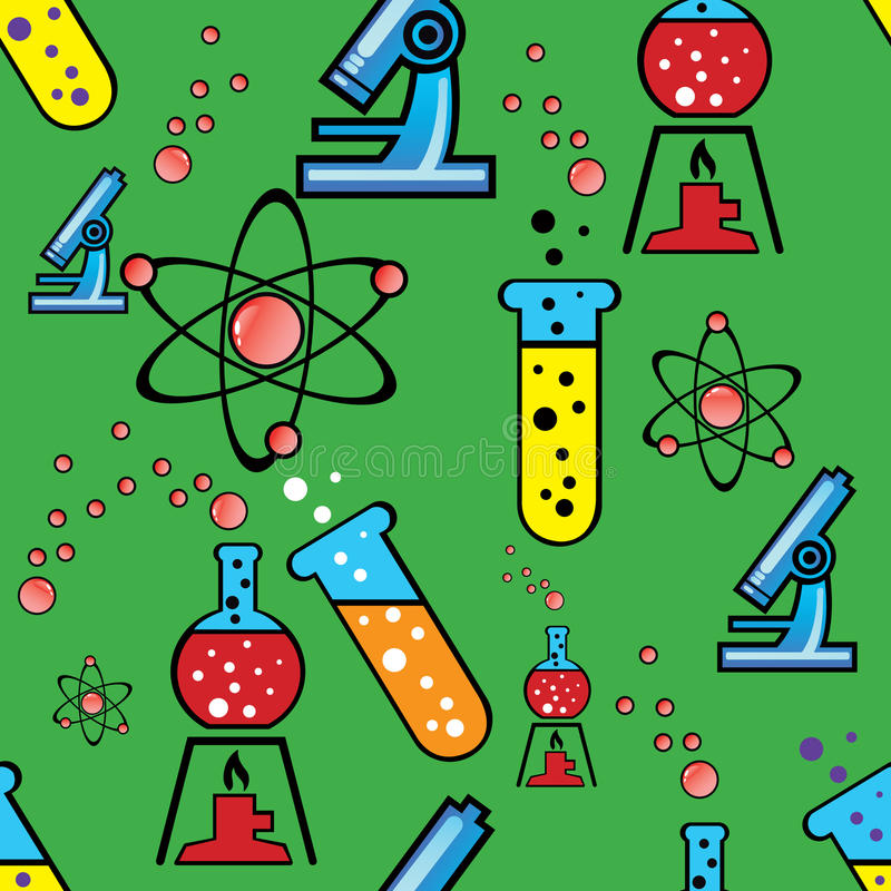 Seamless background with objects of chemistry. Vector illustration for seamless background with objects of chemistry stock illustration