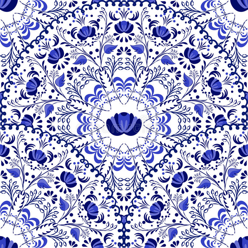 Free Seamless Background Of Circular Patterns. Blue Ornament Russian National Style Gzhel. Royalty Free Stock Images - 49231319