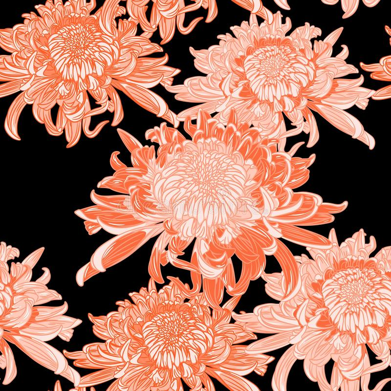 Seamless background with orange Japanese chrysanthemums and ornament on black backdrop. Inscription Autumn garden of chrysanthemums vector illustration