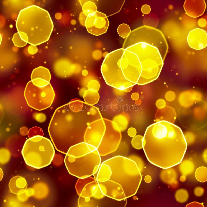 Seamless background orange octagon bokeh lights royalty free illustration