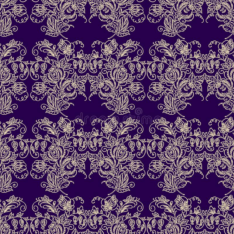 Seamless pattern of outlines of stylized flowers bunches vector illustration