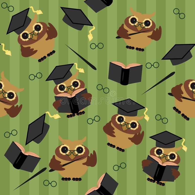 Seamless background with owls stock illustration