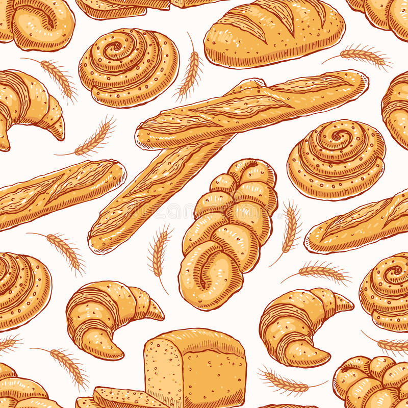 Seamless background with pastries vector illustration