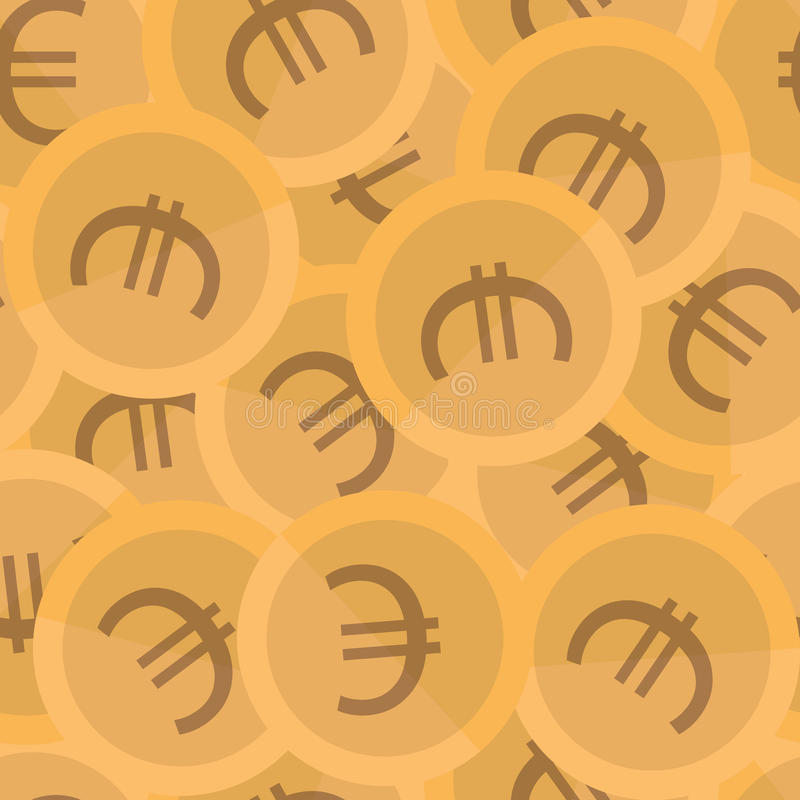 Seamless background pattern coins. Euro vector. Seamless background pattern coins. Euro vector stock illustration
