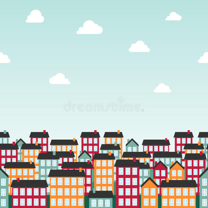 Download Seamless Background Pattern With Colorful Town Stock Vector - Image: 24871285
