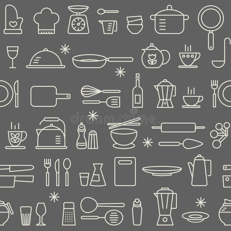 Seamless background pattern Cooking Kitchen utensil icons set royalty free illustration