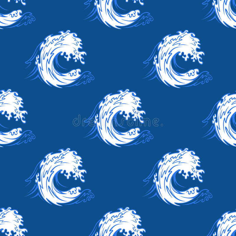 Seamless background pattern of a curling wave stock illustration