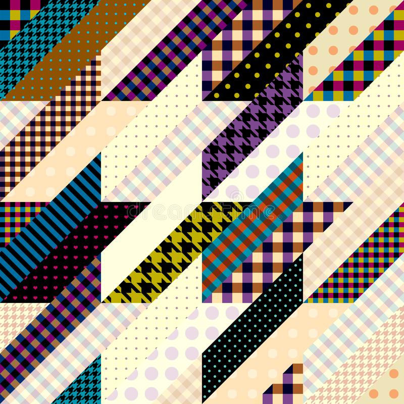 Geometrical patchwork pattern. Seamless background pattern. Geometrical Hounds-tooth pattern in a patchwork style vector illustration