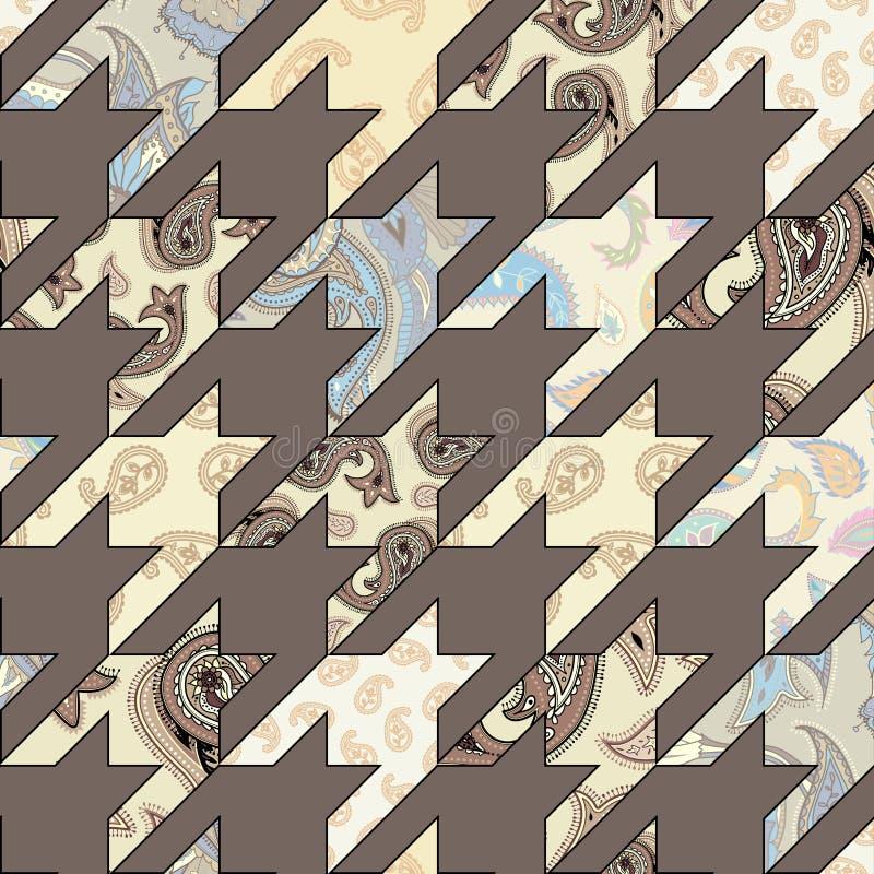 Geometrical patchwork pattern. Seamless background pattern. Geometrical Hounds-tooth pattern in patchwork style stock illustration