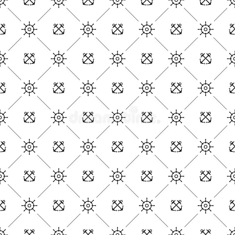 Seamless maritime pattern with helm and crossed anchors. Seamless background pattern with helms and crossed anchors. Nautical equipment and sailing vector royalty free illustration