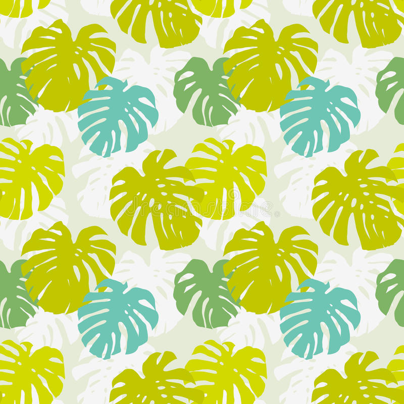 Download Seamless Pattern With Monstera Leafs Stock Vector - Image: 29839979