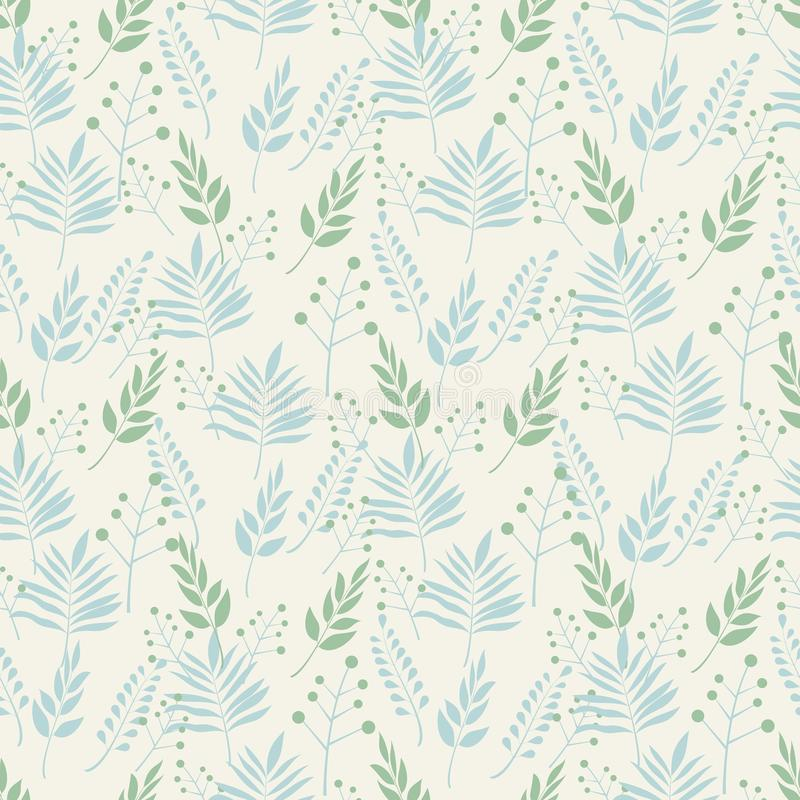 Seamless background pattern of leaves and branches leaves in pastel shades of green and blue on a beige background . Abstract leaf royalty free illustration